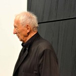 Portrait de Pierre Soulages le soir du vernissage au Centre Georges Pompidou, photographe Georges Poncet